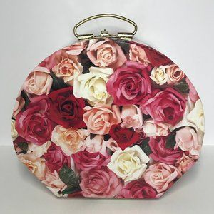 Hat Box | Floral Roses | Hinged, Handle & Clasp